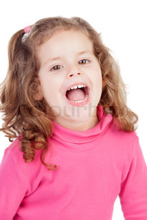 Little girl in pink laughing out loud