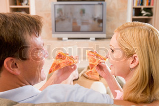 Image of 'tv, eating, woman'