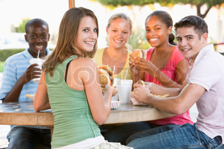 Image of 'cafe, teenage, outside'