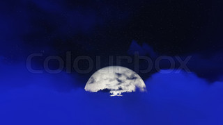 Night stars in sky and cloud with moon