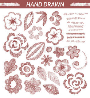 Vector set of hand drawn floral elements.