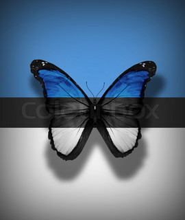 Estonian flag butterfly, isolated on flag background