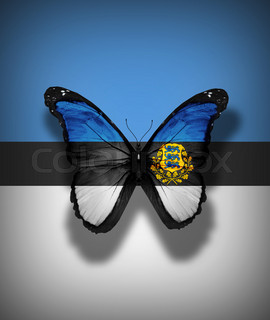 Estonian flag butterfly with coat of arms, isolated on flag background