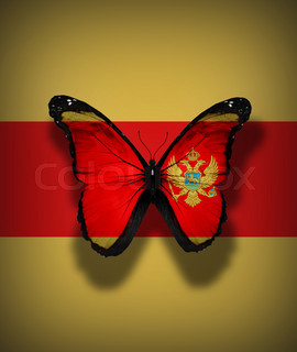 Montenegro flag butterfly, isolated on flag background