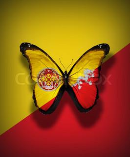 Bhutan flag butterfly, isolated on flag background
