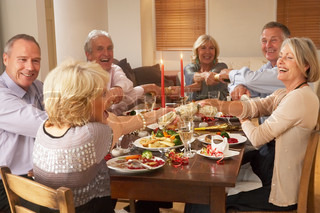 Elderly couples enjoying their Christmas  dinner