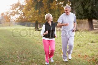 Image of 'walking, power walking, senior adult'