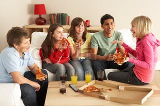 Billede af 'teenager, pizza, gruppe'