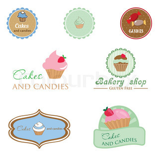 Set of vintage style logo with cupcake and candies.