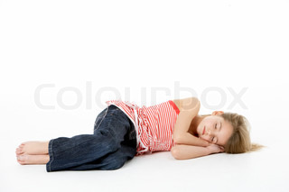 Young Girl Sleeping In Studio