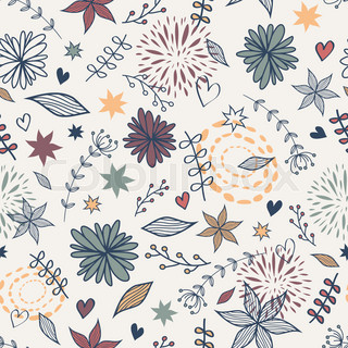 Vector cute seamless floral pattern with flowers, leaves, hearts. Can be used for scrapbooking, wallpapers, pattern fills, web page backgrounds, surface textures.