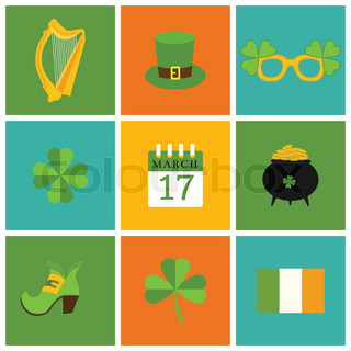 A Set Of Flat Design Icons For St Patrick 39 S Day Isolated