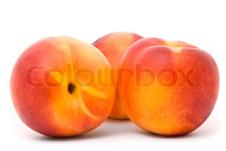 Juicy nectarines on a white background