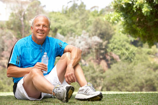 Senior Man Relaxing After Exercise