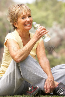 Senior Woman Relaxing After Exercise