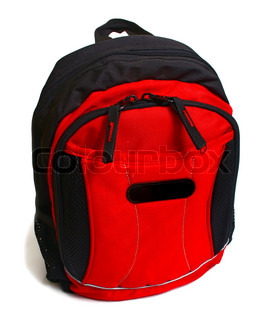 red and black backpack isolated on white background
