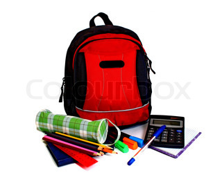 school backpack isolated on white background
