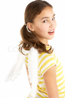 Young Girl Wearing Angel Wings