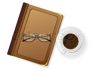 cups of coffee and with glasses illustration