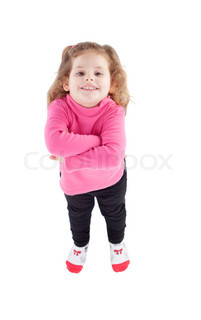 Cute little girl in pink with arms crossed