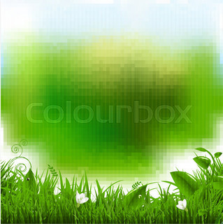 Easter Poster With Grass And Flowers