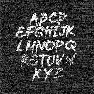 Hand drawn font on textured paper black background