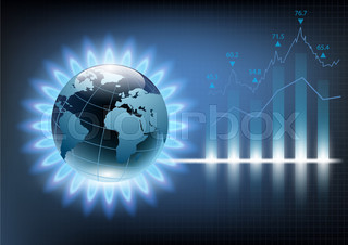 Planet earth in the blue flame of a gas burner. Vector illustration of financial graph chart
