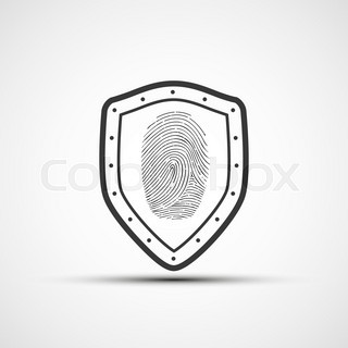 Vector icons metal shield with the fingerprint