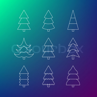 Thin line icon set of Christmas trees