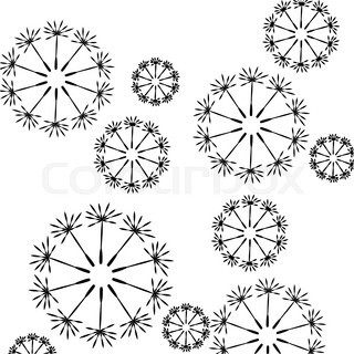 Seamless floral pattern of dandelion seeds