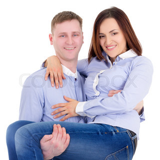 young man holding woman in hands isolated on white