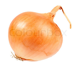 Single a orange fresh onion. Isolated on white background. Close-up studio photography.