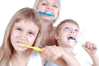 three people  cleaning  teeth over white background