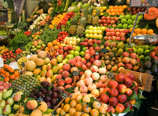 Fresh healthy food on a fruit market
