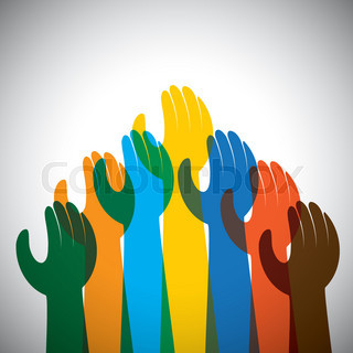 vector icon of many hands in the air - concept of unity, support.