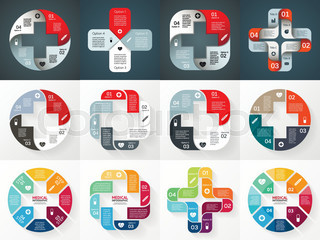 Vector circle plus sign infographics set. Template for diagram, graph, presentation and chart. Medical healthcare concept with 4 options, parts, steps or processes. Abstract background.