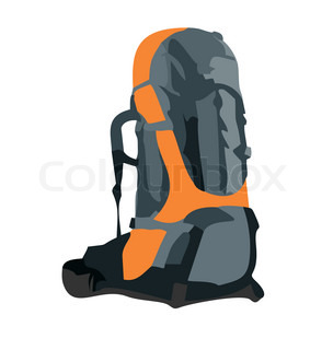 Realistic illustration of tourism backpack isolated on white background - vector