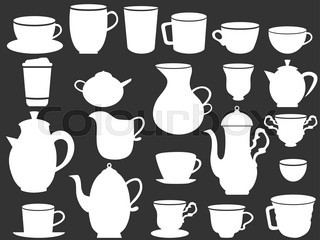 white coffee and tea cups silhouettes