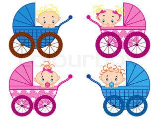 Four strollers with baby-boys and baby-girls