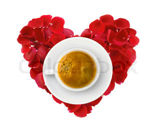 beautiful heart of red rose petals and cup of coffee isolated on white
