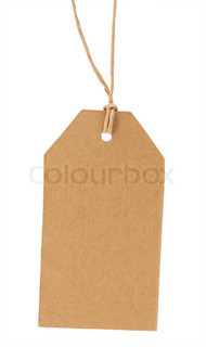 The old label on a rope isolated on a white background