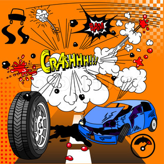 Vector of 'cartoon, crash, car'