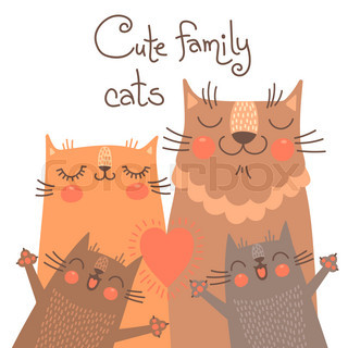 Cute card with family cats.