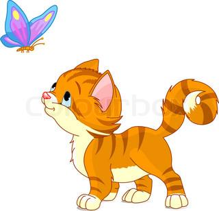 Grafiken von 'katze, butterfly, niedlich'