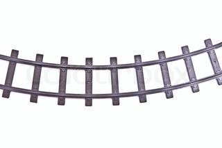 Old model railroad track. Isolated on pure white.