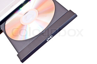 Electrical silver dvd with disc on white