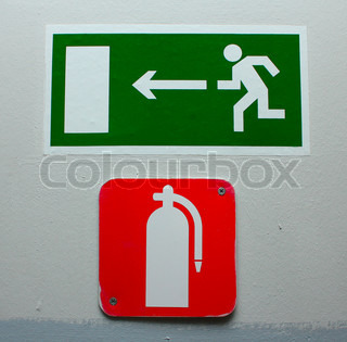 Red Fire Extinguisher Sign on the office wall