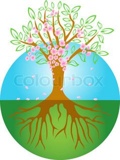 Vektor af 'træ, rødder, silhuet'
