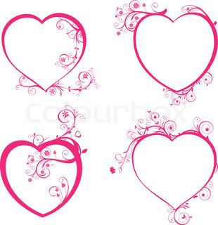 Vector of 'heart, stencil, swirl'