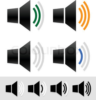Volume, sound level indicators with speaker icons.